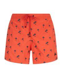 BOSS Green - Orange Embroidered Swim Shorts for Men - Lyst