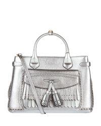 Burberry - Gray Medium Metallic Banner Tote Bag - Lyst
