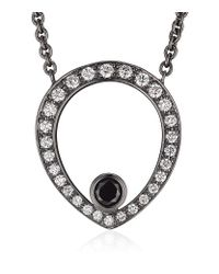 Theo Fennell | Metallic Black Diamond Skull Necklace | Lyst