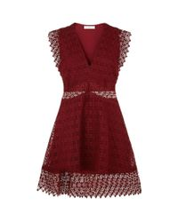 Sandro - Red Lace Skater Dress - Lyst