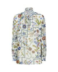 Tory Burch - White Haley Floral Silk Blouse - Lyst