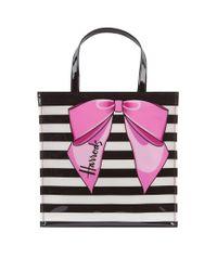 Harrods Multicolor Small Stripy Bow Shopper Bag
