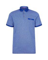 Ted Baker | Blue Collin Geometric Print Polo Shirt for Men | Lyst