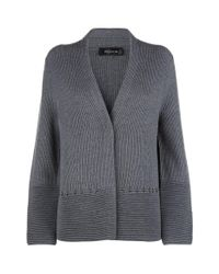 St. John - Gray Ribbed Knit Cardigan - Lyst