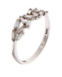 Suzanne Kalan | Metallic White Gold Chevron Diamond Ring | Lyst