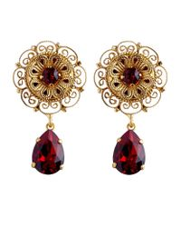 Dolce & Gabbana - Metallic Goldtone Crystal and Faux Pearl Clip Earrings - Lyst