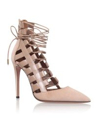 ab0f1447a9e Aquazzura Amazon Lace-Up Leather Pumps in Natural - Lyst