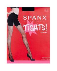 Spanx - Black Plaid Lace Tights - Lyst