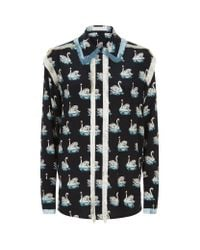Stella McCartney | Black Rosette Swan Print Shirt | Lyst