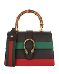 Gucci | Green Small Dionysus Stripe Bamboo Top Handle Bag | Lyst