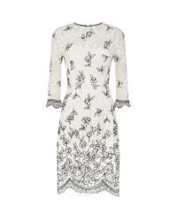 Oscar de la Renta - Multicolor Embroidered Lace Frill Hem Dress - Lyst