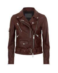 AllSaints | Brown Harland Biker Jacket | Lyst
