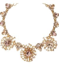 Oscar de la Renta - Metallic Tiered Crystal Necklace - Lyst