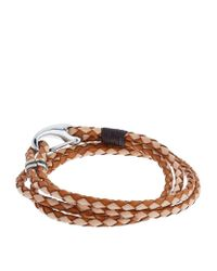 Paul Smith - Brown Braided Leather Bracelet - Lyst
