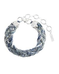 Weekend by Maxmara | Blue Braided Crystal Embellished Necklace | Lyst