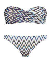 Missoni | Blue Lurex Zig Zag Bandeau Bikini | Lyst