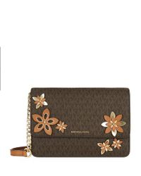 MICHAEL Michael Kors | Brown Large Daniela Flowers Cross Body Bag | Lyst