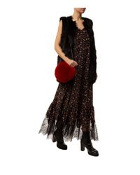 McQ - Black Lace Trim Floral Maxi Dress - Lyst