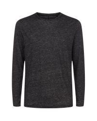 Rag & Bone   Black Owen Long Sleeve Linen T-shirt for Men   Lyst