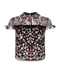 Needle & Thread | Black Posy Embroidered Floral Crop Top | Lyst