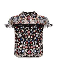Needle & Thread - Black Posy Embroidered Floral Crop Top - Lyst