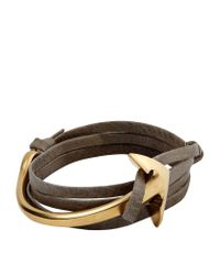 Miansai | Brown Gold Anchor Leather Bracelet | Lyst