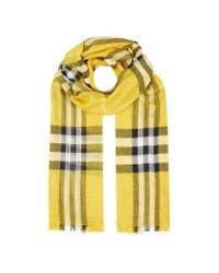 Burberry | Yellow Gauze Giant Check Scarf | Lyst