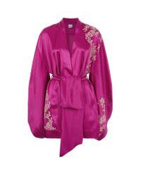 Carine Gilson   Purple Short Silk Kimono   Lyst