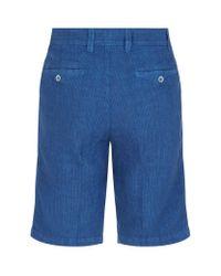 120% Lino | Blue Striped Linen Shorts for Men | Lyst