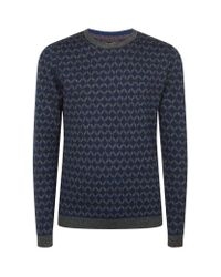 Ted Baker | Blue Vince Geometric Jacquard Jumper for Men | Lyst