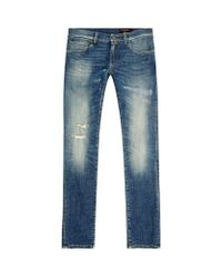 Dolce & Gabbana | Blue Distressed Classic Fit Stretch Jeans for Men | Lyst