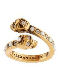 Alexander McQueen - Metallic Crystal Twin Skull Ring - Lyst