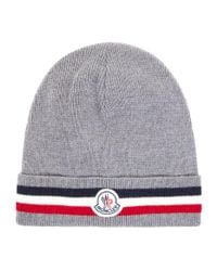 Moncler - Gray Knitted Logo Beanie for Men - Lyst