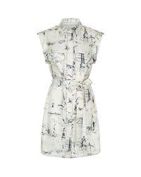 Burberry - White Scribble Print Silk Dress - Lyst