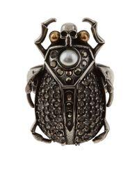 Alexander McQueen - Metallic Crystal Beetle Embellished Ring, Silver, 15 - Lyst
