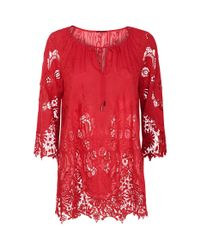 Elie Tahari - Red Mariella Lace Blouse - Lyst
