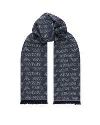 Armani Jeans Blue Logo Print Scarf for men