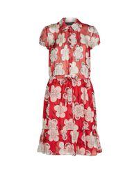 Emporio Armani Red Silk Chiffon Print Dress