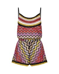 Missoni | Red Lurex Crochet Playsuit | Lyst