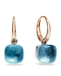 Pomellato - Pink Nudo Blue Topaz Rose Gold Earrings - Lyst