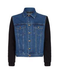 McQ Alexander McQueen Blue Denim Contrast Sleeves Jacket for men