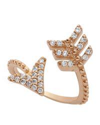 Bee Goddess - Metallic Diamond Eros Arrow Midi Wrap Ring - Lyst