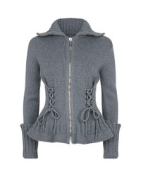 Alexander McQueen - Gray Lace-up Detail Cardigan - Lyst