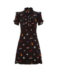 Sandro - Black Printed Ruffle Dress - Lyst