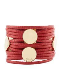 Chloé - Red Leather Multi-strand Bracelet - Lyst
