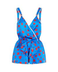 Morgan Lane - Blue Paulina Silk Thief Of Hearts Printed Playsuit - Lyst
