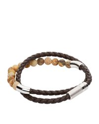 Tateossian - Brown Leather Beaded Wrap Bracelet - Lyst