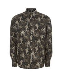 Paul Smith - Gray Monkey Print Casual Shirt for Men - Lyst