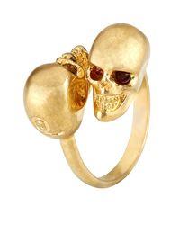 Alexander McQueen   Metallic Twin Skull Ring   Lyst