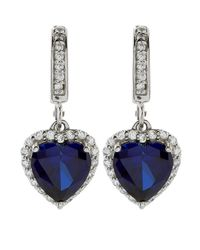 Carat* - Blue 2ct Sapphire Heart Drop Earrings - Lyst